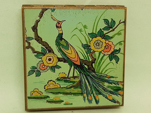 1930/40s Zenette Compact Peacock Floral Base