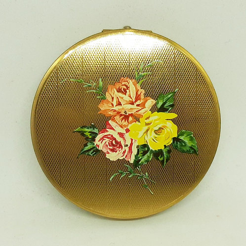 Stratton Engine Turned Goldtone Compact Old Country Roses