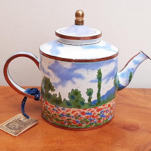 "Charlotte Di Vita Miniature Enamel Teapot MONET ""Poppy Fields"""