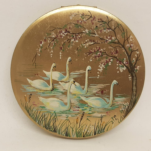 Beautiful Stratton Open Hand Compact Bevy of Swans & Blossom