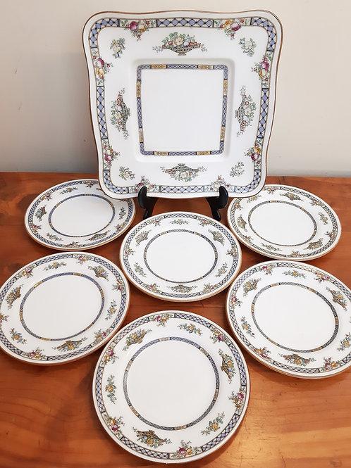 Royal Doulton Strathmore  Bone China 7pc Afternoon Tea Cake Plate Seto