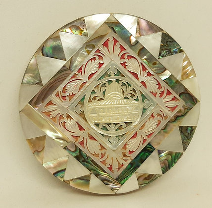 1950s Mascot Mother Pearl Abalone Carved Taj Mahal Compact