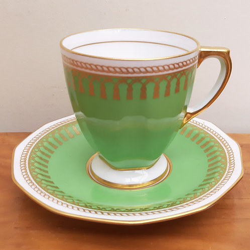 Spode Coffee Cup & Saucer RYDE Y3064 Green Gold