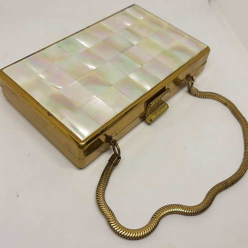 1950s ELGIN American Mother of Pearl Carryall Party Bag Compact