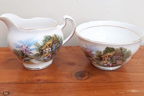 Pretty Royal Vale Country Cottage Milk Jug & Sugar Bowl Set