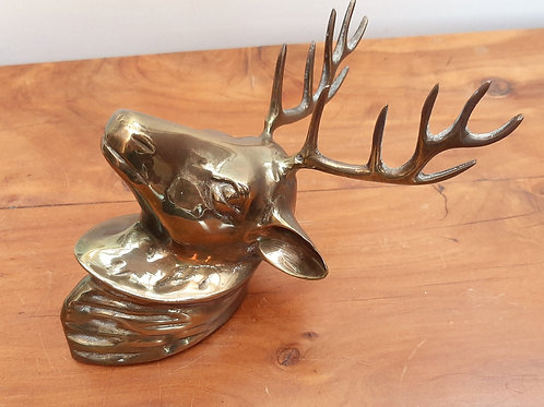Wall mounted brass stag head