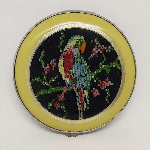 GWENDA Art Deco Parrot Mosaic Powder Compact