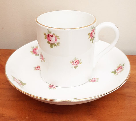 Crown Staffordshire Ditsy Rose Demitasse Coffee Cup & Saucer