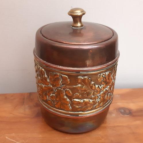 Vintage LINTON Brass & Copper Caddy Acorn Leaves