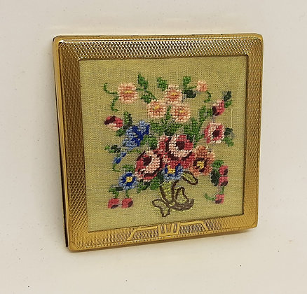Lovely English Petit Point Embroidery Compact by Patina