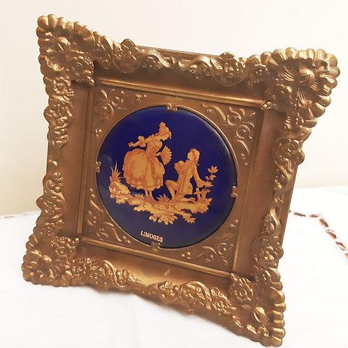 Limoges Porcelain Gilt Frame Plaque Cobalt Watteau