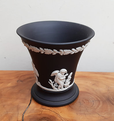 Wedgwood Black Jasperware Trumpet Vase Putti