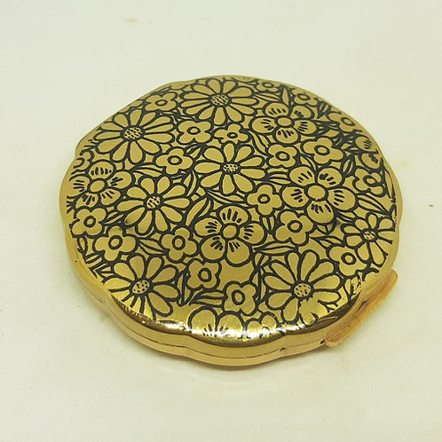 Vintage IRIS Clam Shape Powder Compact Flower Power