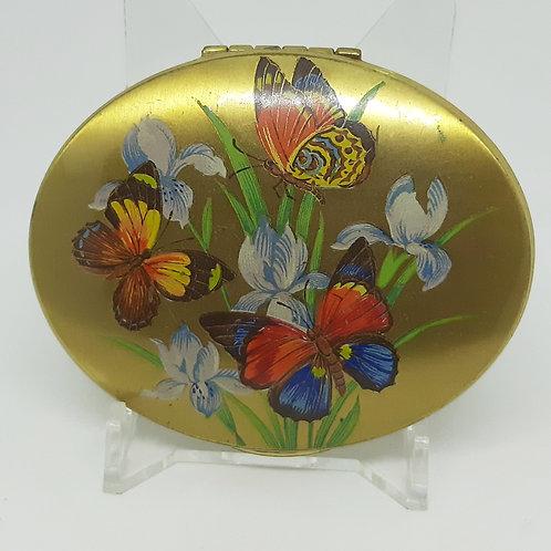 Kigu oval powder compact Butterflies & Iris flowers