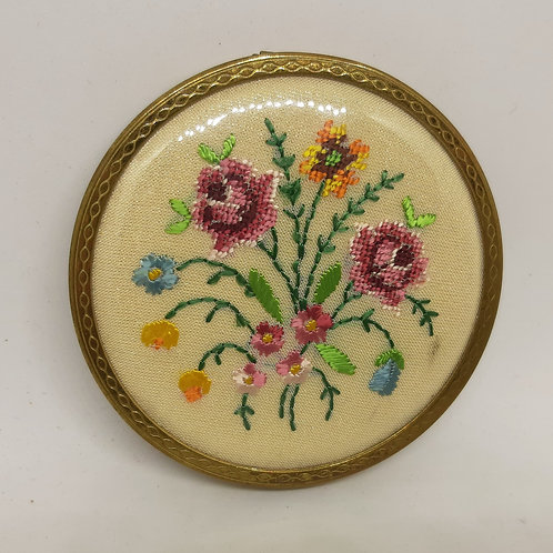 Mascot Petit Point Floral Spray Silk Embroidered Compact