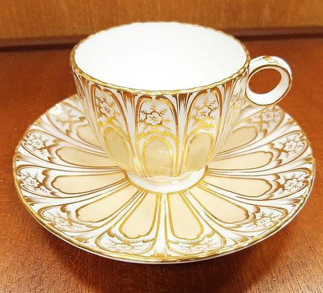 c1870 Davenport Coffee Cup & Saucer Buttermilk Gilt