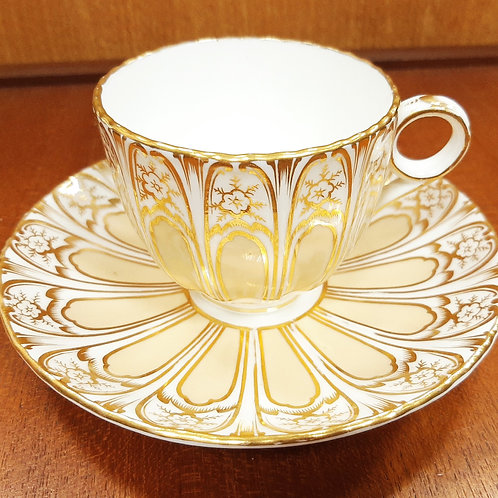 c1870 Davenport Coffee Cup & Saucer Buttermilk Gilt