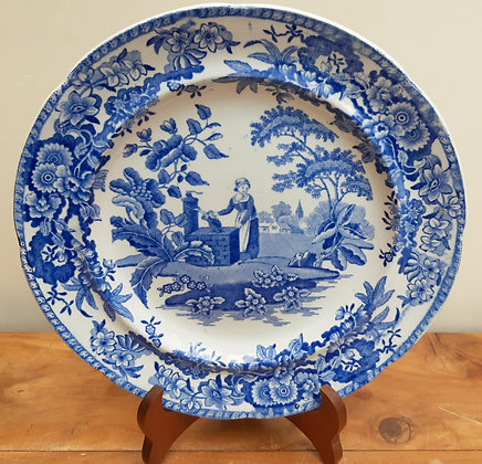 """c1820 Pearlware Soup Plate """"Girl at the Well"""" After Spode"""