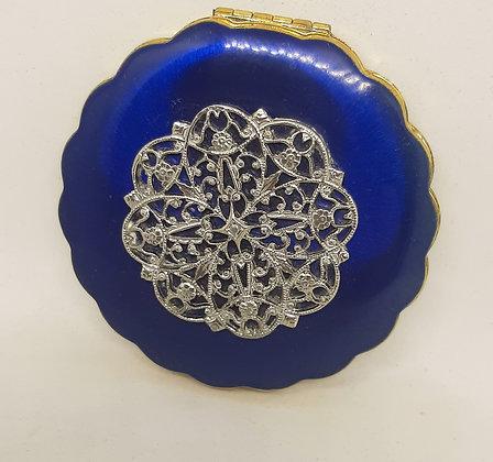 Scalloped Blue Enamel KIGU Compact Silver Filigree