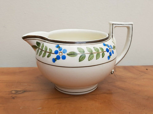 19thC Wedgwood Creamware Cream Jug Blue Flowers