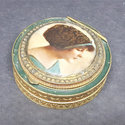 19thC French Double Powder Compact MOP Painted Portrait