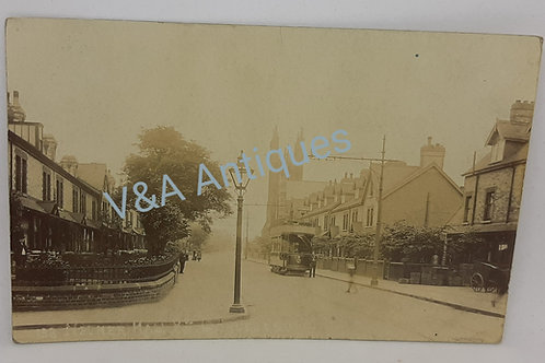 Early RP Nether Hall Road Doncaster Tram Posted 1908