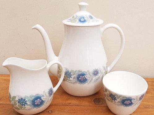 Wedgwood Clementine Coffee Pot, Milk Jug & Sugar Bowl