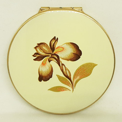 1950s Stratton Compact Cream Enamel Brown/Gold Orchid