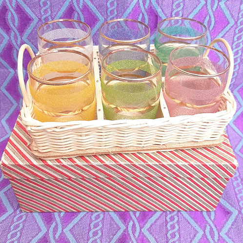 6 Retro Harlequin Sugar Frosted Glasses Boxed