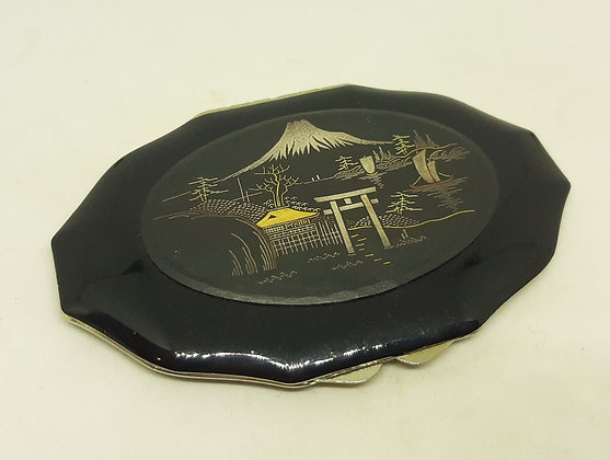 Superb Vintage Black Enamel Damascene Powder Compact