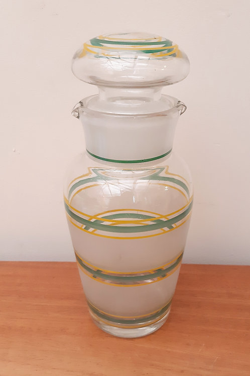Art Deco Frosted Glass Cocktail Shaker Green/Yellow