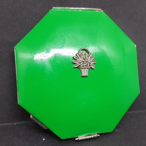 Deco Vogue Vanities Octagonal Green Enamel Compact