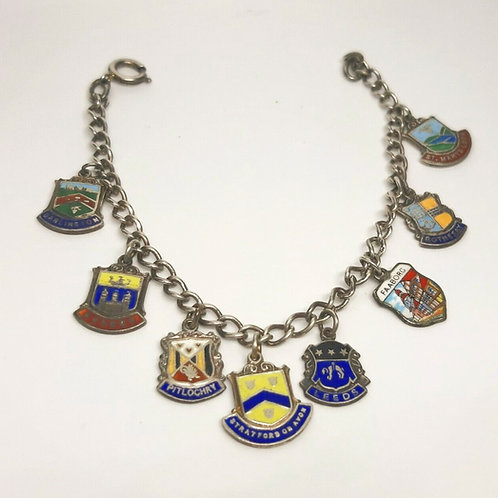 Vintage Sterling Silver Souvenir Enamel Bracelet
