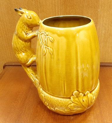 SylvaC Squirrel Acorn Jug Vase 4068 Mustard & Brown