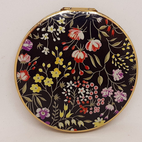Stratton Black Enamel & Spring Flowers Convertible Compact
