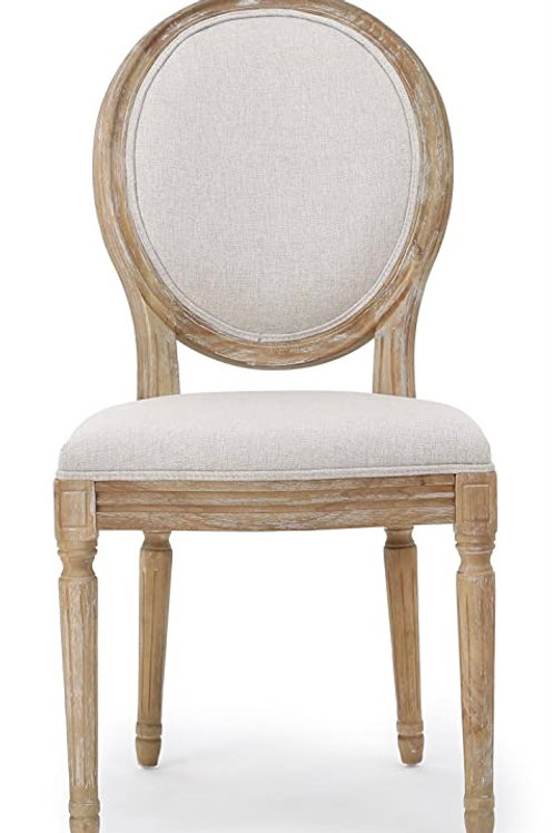 Distressed Wood Louis Back Chair-Beige
