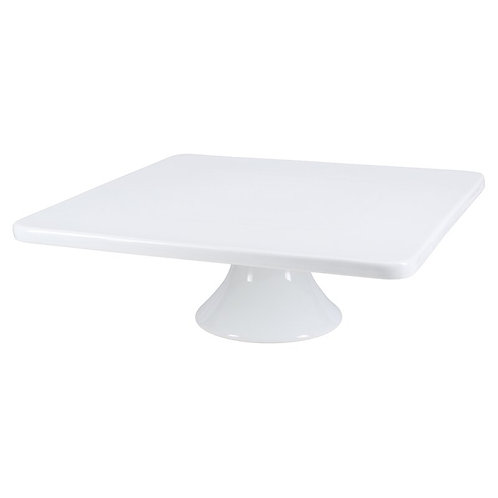 14in Square White Porcelain Cake Stand