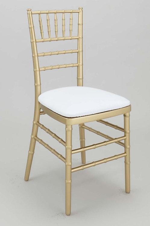 Gold Chiavari Chair w/ Premium Vinyl Ivory Cushion