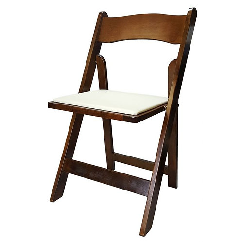 Wooden Fruitwood Folding Chair with Ivory Cushion