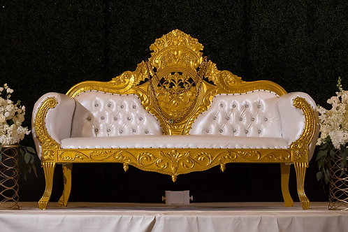 Ivory and Gold Trim Sofa