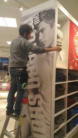 Retail store graphic installation