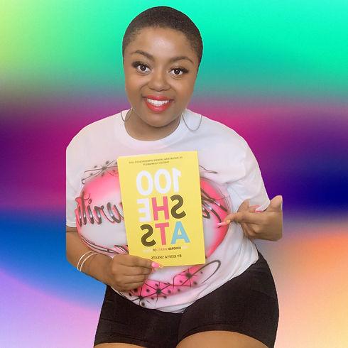 Author Keya Sheats, holding her self-published memoir titled, 100SHEATS. A faith-based book!