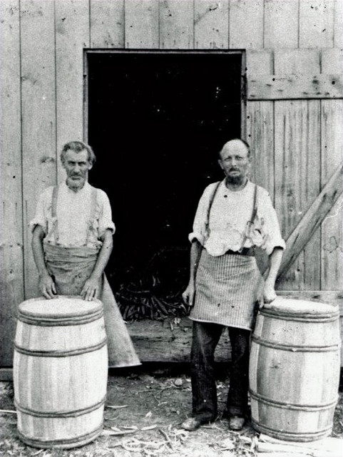 August Schneider & Henry Wiegman at barrel shop in 1898