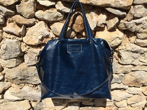 Modèle romane cuir bleu vieilli