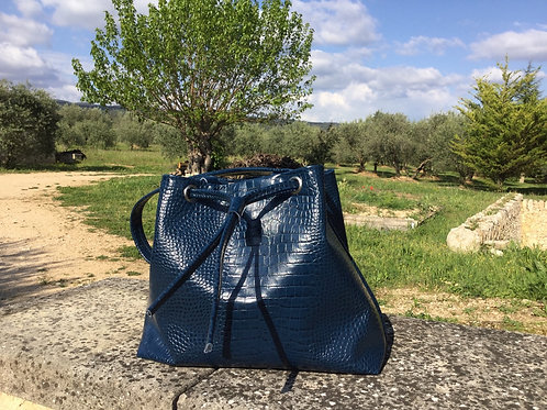 Modèle Matilda medio cuir bleu nuit croco