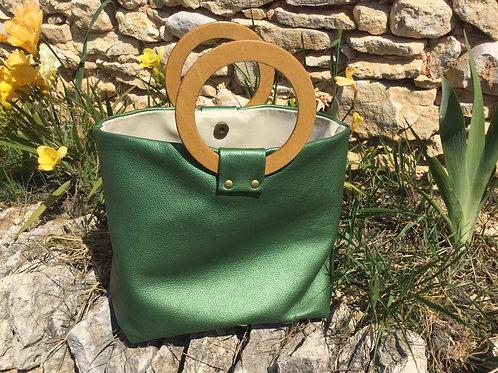Modèle Anna cuir vert anse bois