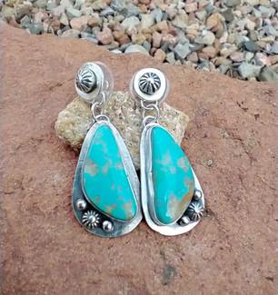 Kingman turquoise post earrings - Sandra Boyer