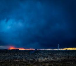 """Sunset drama in a storm — Cerrillos"" Margaret Cushing"