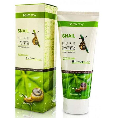 Очищающая пенка с экстрактом улитки FarmStay Snail Pure Cleansing Foam 180 мл.