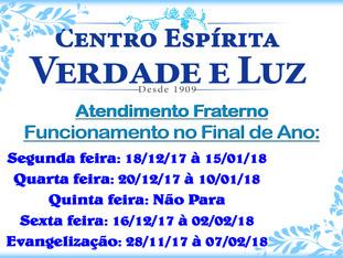 Calendário do Atendimento Fraterno e Evangelização no Final de Ano.